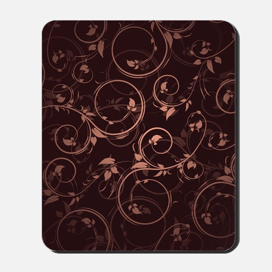 Brown Pink Floral Mousepad