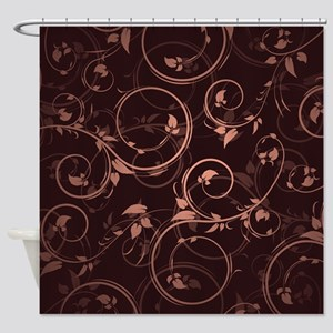 Brown Pink Floral Shower Curtain