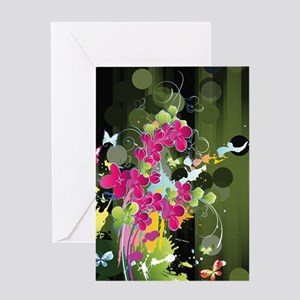 Green Pink Floral Greeting Card