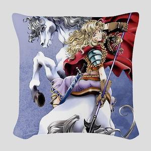 Anime Warrior on Horseback83 Woven Throw Pillow