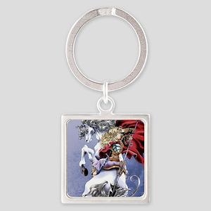 Anime Warrior on Horseback83 Square Keychain