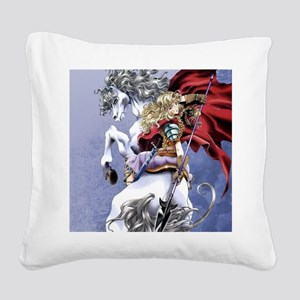 Anime Warrior on Horseback83 Square Canvas Pillow