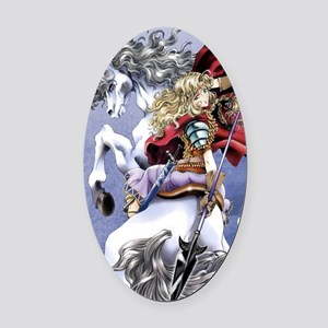 Anime Warrior on Horseback83 Oval Car Magnet
