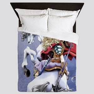 Anime Warrior on Horseback83 Queen Duvet