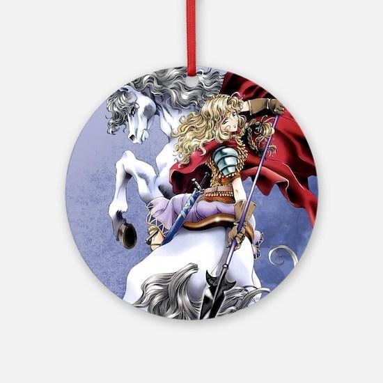 Anime Warrior on Horseback83 Round Ornament