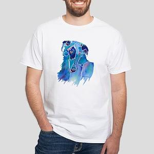 Borzoi Head in Blue White T-Shirt