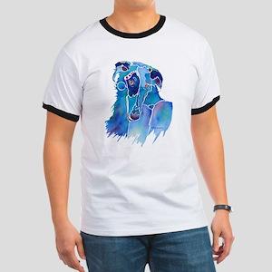 Borzoi Head in Blue Ringer T