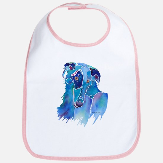 Borzoi Head in Blue Bib
