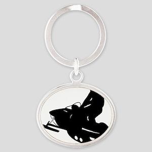 snowmobile01 Oval Keychain