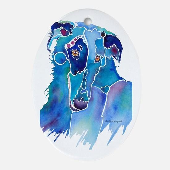 Borzoi Head in Blue Ornament (Oval)