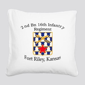 2nd Bn 16th Infantry Square Canvas Pillow