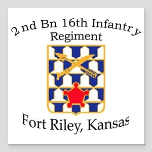 "2nd Bn 16th Infantry Square Car Magnet 3"" x 3"""