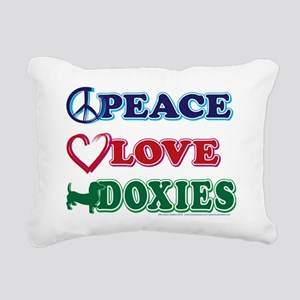 Peace-Love-Doxies Rectangular Canvas Pillow