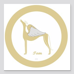 "TOM ANGEL GREY gold rim  Square Car Magnet 3"" x 3"""