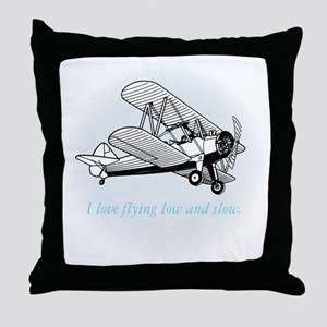 biplane low and slow Throw Pillow