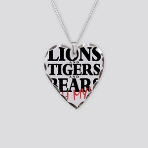 Lions tigers bears Necklace Heart Charm