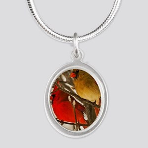 cardinals2poster Silver Oval Necklace