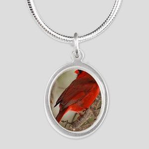cardinal1pster Silver Oval Necklace