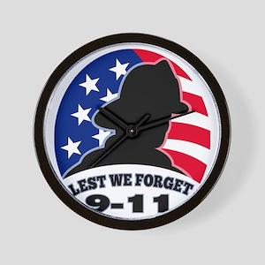 9-11 fireman firefighter american flag Wall Clock