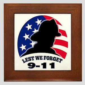 9-11 fireman firefighter american flag Framed Tile