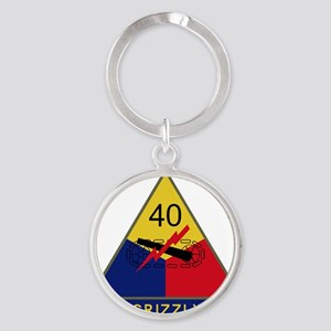40th Armored Division - Grizzly Round Keychain