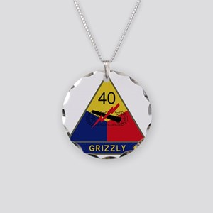 40th Armored Division - Griz Necklace Circle Charm