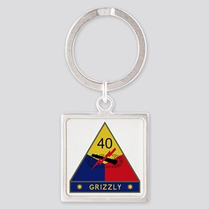 40th Armored Division - Grizzly Square Keychain