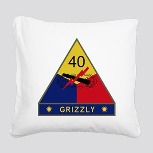 40th Armored Division - Grizz Square Canvas Pillow