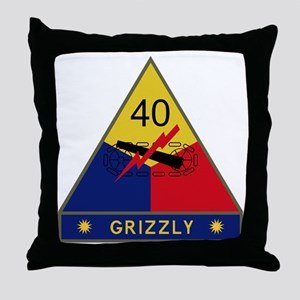 40th Armored Division - Grizzly Throw Pillow