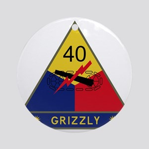 40th Armored Division - Grizzly Round Ornament