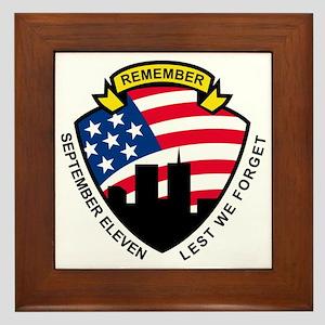 9-11 World Trade Center American Flag  Framed Tile