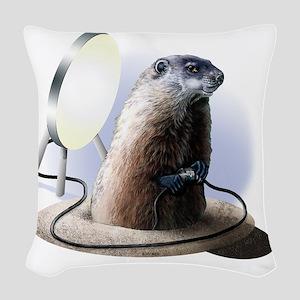 Bad Groundhog Woven Throw Pillow