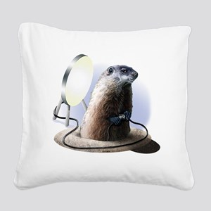 Bad Groundhog Square Canvas Pillow