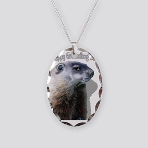 Happy Groundhog Day Necklace Oval Charm