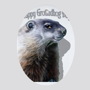 Happy Groundhog Day Oval Ornament