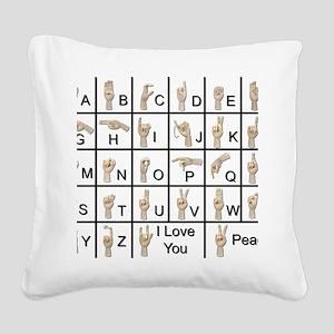 AmeslanAlphabet120710 Square Canvas Pillow