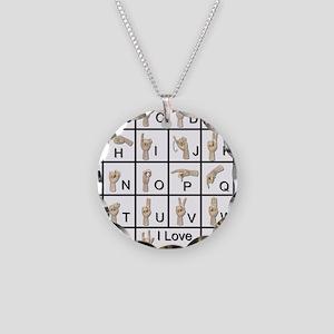 AmeslanAlphabet120710 Necklace Circle Charm