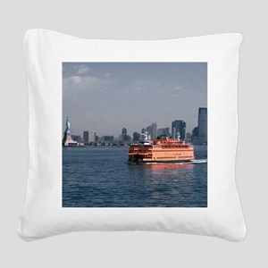 (2) Staten Island Ferry Square Canvas Pillow