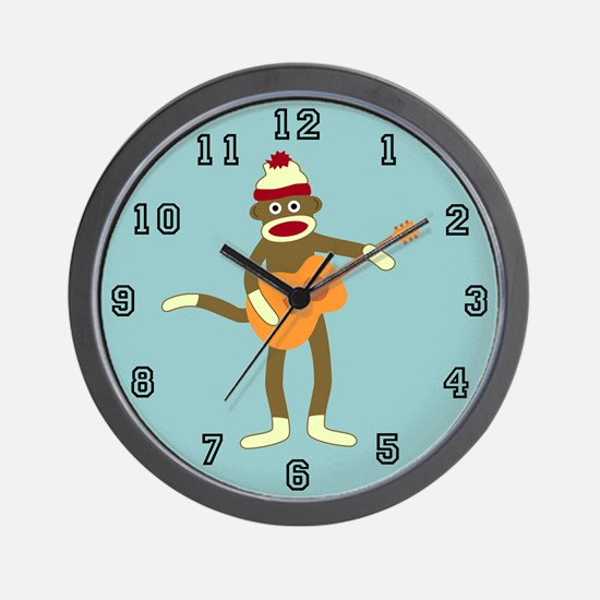 Sock Monkey Acoustic Guitar Player Wall Clock