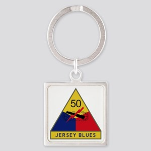 50th Armored Division - Jersey Blu Square Keychain