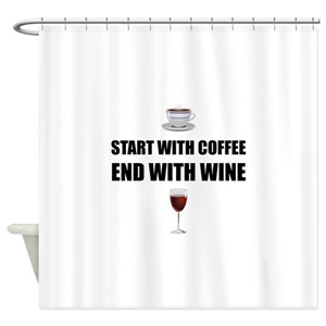 Will Work For Wine Shower Curtains
