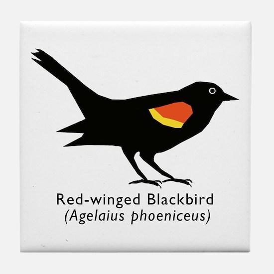red-winged blackbird Tile Coaster
