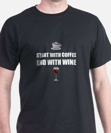 Start With Coffee End Wine T-Shirt
