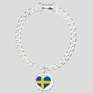 SwedeHeart-sq Charm Bracelet, One Charm