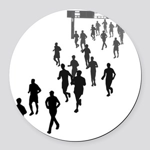Running People Faded Round Car Magnet