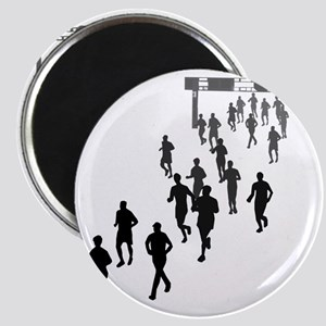 Running People Faded Magnet
