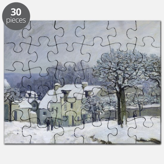 The Place du Chenil at Marly-le-Roi, Snow,  Puzzle