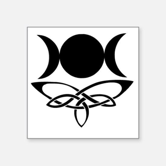 "BlackCeltTripleMoon Square Sticker 3"" x 3"""