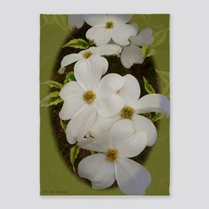 White Dogwood Blossoms 5'x7'Area Rug