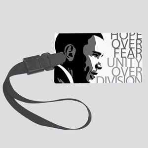 obama_over_division_grey Large Luggage Tag